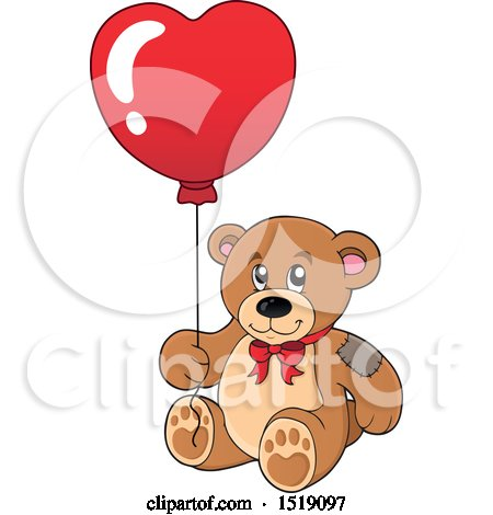 Clipart of a Teddy Bear Holding a Heart Balloon - Royalty Free Vector Illustration by visekart