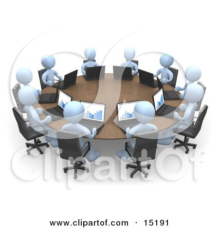 Group Of Blue People, Students Or Employees During A Training Class, Using Laptop Computers To View Charts And Graphs While Seated Around A Conference Table Clipart Illustration Image by 3poD