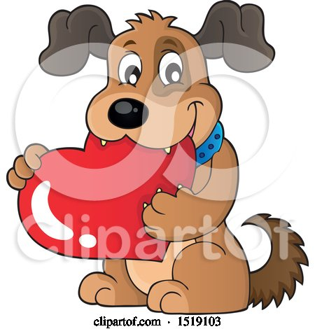 Clipart of a Dog Holding a Valentine Heart - Royalty Free Vector Illustration by visekart