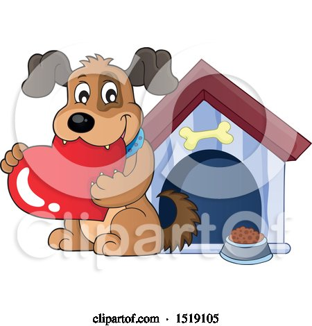 Clipart of a Dog Holding a Valentine Heart by a House - Royalty Free Vector Illustration by visekart