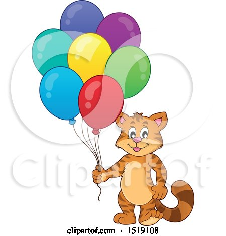 Clipart of a Cat Holding Party Balloons - Royalty Free Vector Illustration by visekart
