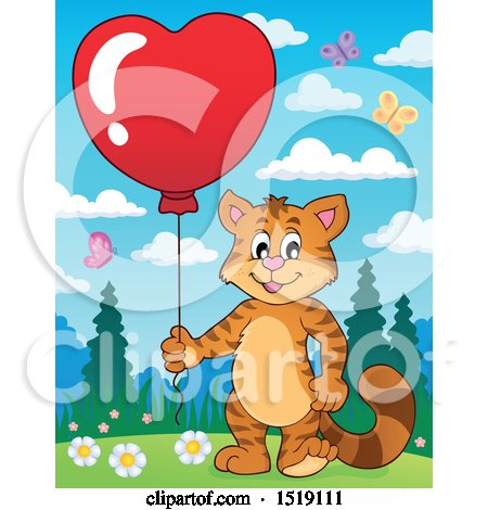 Clipart of a Valentine Cat Holding a Heart Balloon - Royalty Free Vector Illustration by visekart