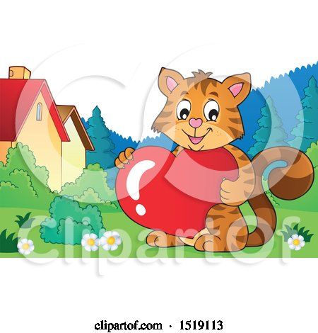 Clipart of a Valentine Cat Holding a Heart - Royalty Free Vector Illustration by visekart