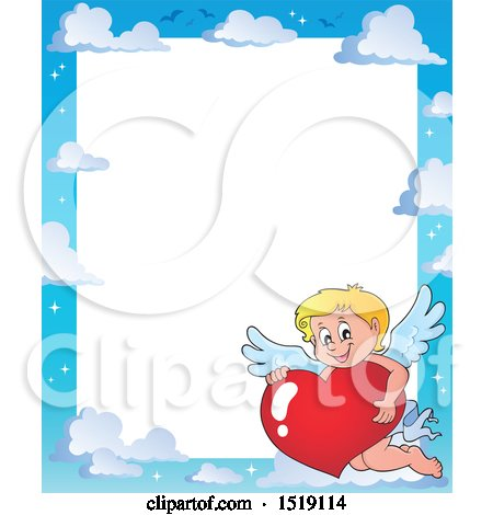 Clipart of a Sky Border with a Happy Cupid Hugging a Valentine Heart - Royalty Free Vector Illustration by visekart