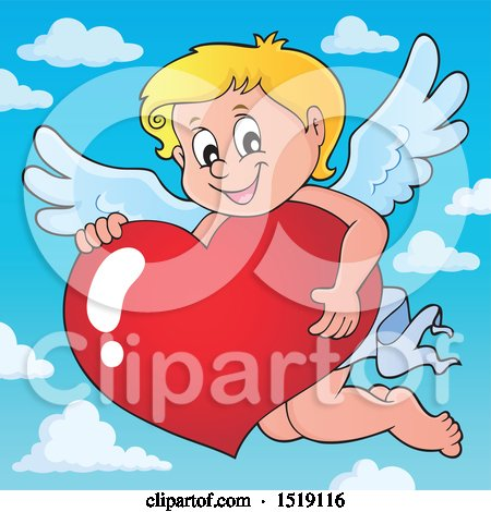 Clipart of a Happy Cupid Hugging a Valentine Heart - Royalty Free Vector Illustration by visekart