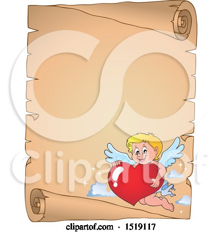 Clipart of a Parchment Scroll Border with a Happy Cupid Hugging a Valentine Heart - Royalty Free Vector Illustration by visekart