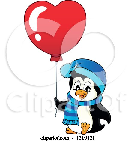 Clipart of a Penguin Holding a Heart Balloon - Royalty Free Vector Illustration by visekart