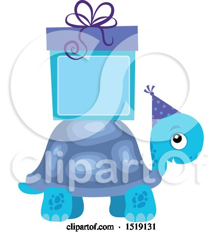 Clipart of a Blue Boy Tortoise with a Gift and Copyspace - Royalty Free Vector Illustration by visekart