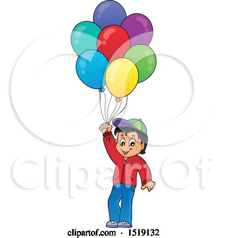 Clipart of a Boy Holding Party Balloons - Royalty Free Vector Illustration by visekart