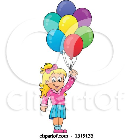 Clipart of a Blond Girl Holding Party Balloons - Royalty Free Vector Illustration by visekart