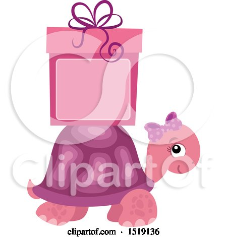 Clipart of a Pink Girl Tortoise with a Gift and Copyspace - Royalty Free Vector Illustration by visekart