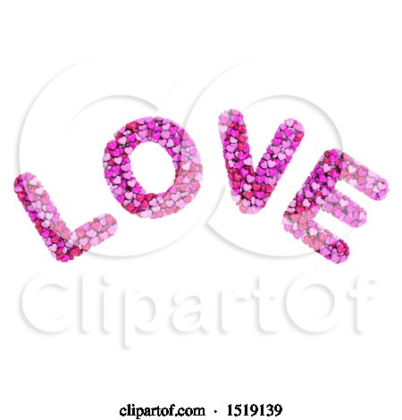 Clipart of a 3d Word LOVE Formed of Hearts, on a White Background - Royalty Free Illustration by chrisroll