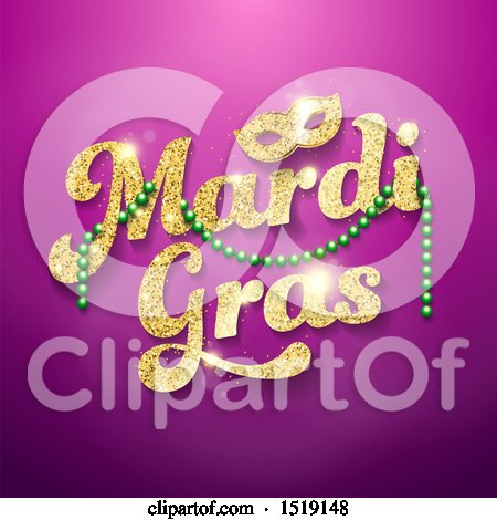 Clipart of a Golden Glitter Mardi Gras Design with Green Beads and a Mask on Purple - Royalty Free Vector Illustration by beboy