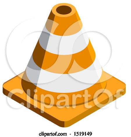 Clipart of a 3d Traffic Cone Icon - Royalty Free Vector Illustration by beboy