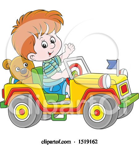 Clipart of a White Boy Playing in a Toy Jeep - Royalty Free Vector Illustration by Alex Bannykh