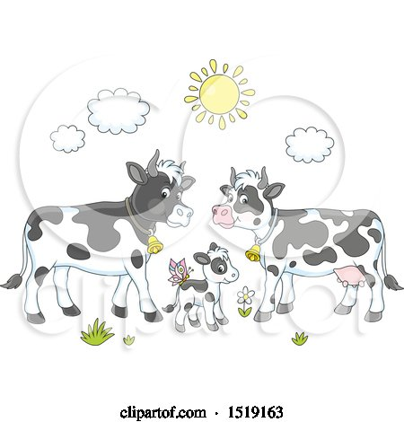 Clipart Of A Cute Jersey Cow With A Daisy In Its Mouth