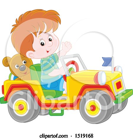 Clipart of a Caucasian Boy Playing in a Toy Jeep - Royalty Free Vector Illustration by Alex Bannykh