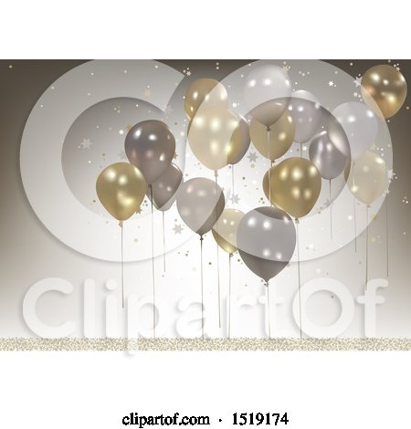 Clipart of a 3d Party Balloon Background - Royalty Free Vector Illustration by dero