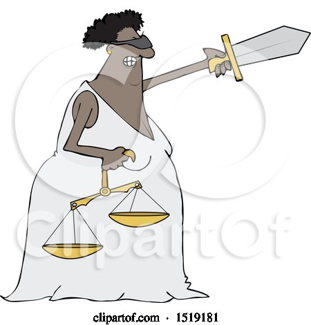 Clipart of a Cartoon Black Lady Justice Holding a Sword and Scales - Royalty Free Vector Illustration by djart