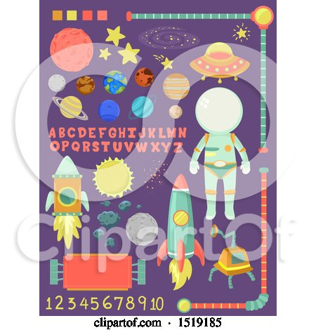 Clipart of Outer Space Design Elements with Letters and Numbers - Royalty Free Vector Illustration by BNP Design Studio