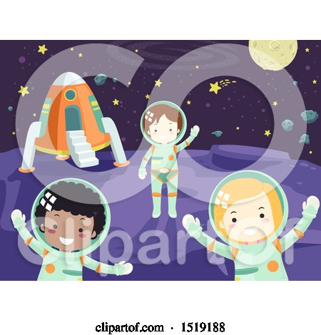 Clipart of a Group of Children Astronauts in Outer Space - Royalty Free Vector Illustration by BNP Design Studio
