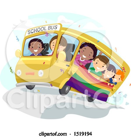 Clipart of a Group of Children Holding a Rainbow Flag and Riding a Bus - Royalty Free Vector Illustration by BNP Design Studio