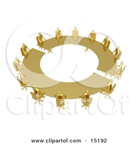 Group Of Gold People Seated And Holding A Meeting At A Large Golden Conference Table Clipart Illustration Image by 3poD