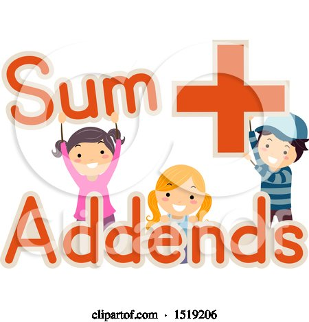 Clipart of a Group of Children Holding Sum, Addends and Plus Words and Symbols - Royalty Free Vector Illustration by BNP Design Studio