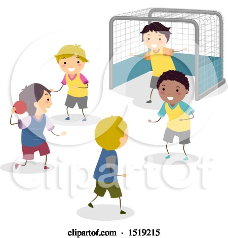 Clipart of a Group of Boys Playing Handball - Royalty Free Vector Illustration by BNP Design Studio