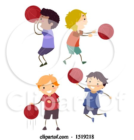 Clipart of Boys Playing Basketball - Royalty Free Vector Illustration by BNP Design Studio
