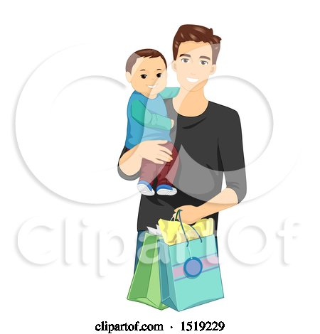 Clipart of a Father Shopping with His Son - Royalty Free Vector Illustration by BNP Design Studio