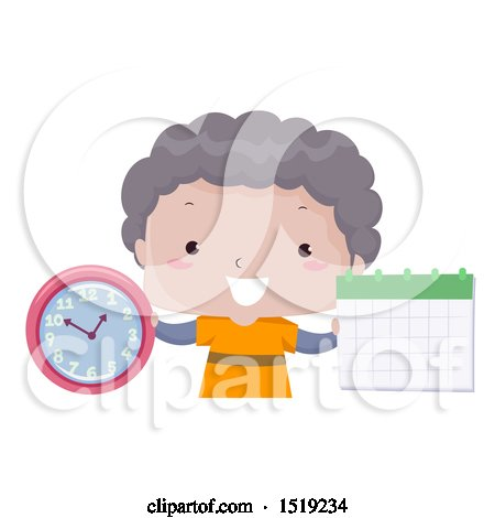 Clipart of a Boy Holding a Clock and Calendar, Learning Time and Months - Royalty Free Vector Illustration by BNP Design Studio