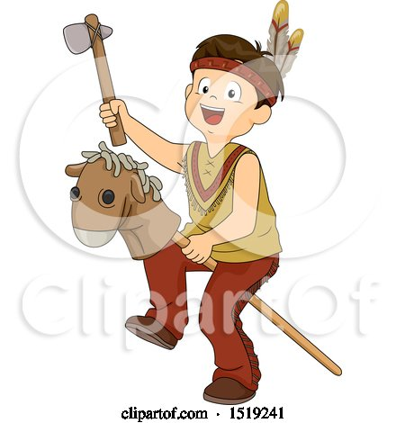 Clipart of a Boy Dressed As a Native American and Playing with a Stick Pony - Royalty Free Vector Illustration by BNP Design Studio