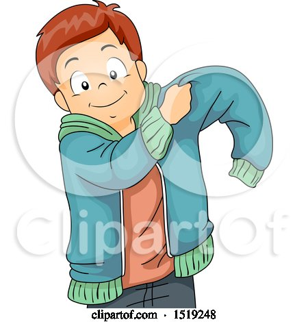 Clipart of a Boy Putting on a Jacket - Royalty Free Vector Illustration by BNP Design Studio
