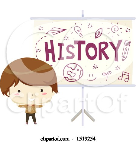 Clipart of a Boy by a History Projector - Royalty Free Vector Illustration by BNP Design Studio