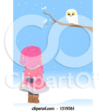 Clipart of a Girl Looking up at a Snowy Owl on a Winter Day - Royalty Free Vector Illustration by BNP Design Studio