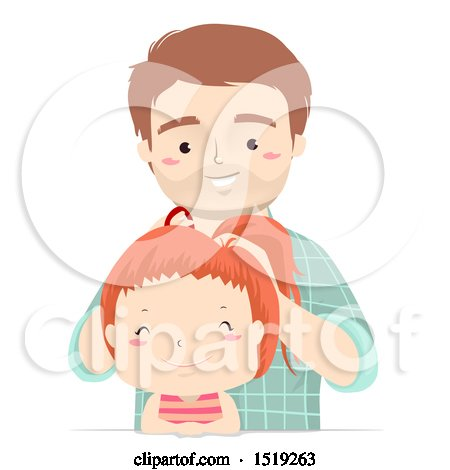 Clipart of a Happy Father Putting His Daughter's Hair up in a Ponytail - Royalty Free Vector Illustration by BNP Design Studio