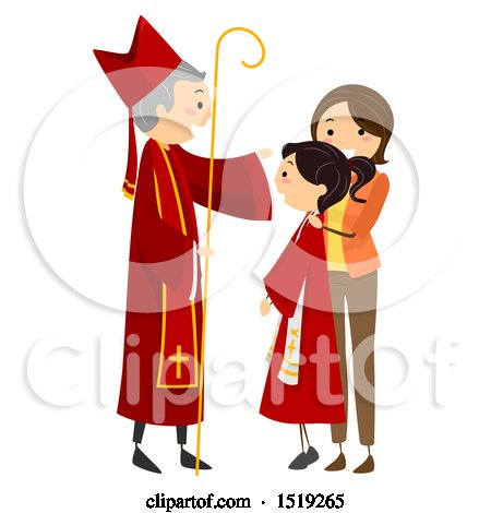 Clipart of a Teenage Girl Having the Sacrament of Confirmation with a Priest and Her Mother - Royalty Free Vector Illustration by BNP Design Studio