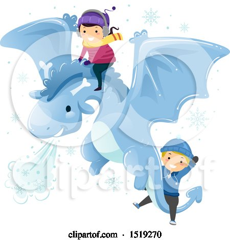 Clipart of a Boy and Girl Riding on a Flying Winter Dragon - Royalty Free Vector Illustration by BNP Design Studio