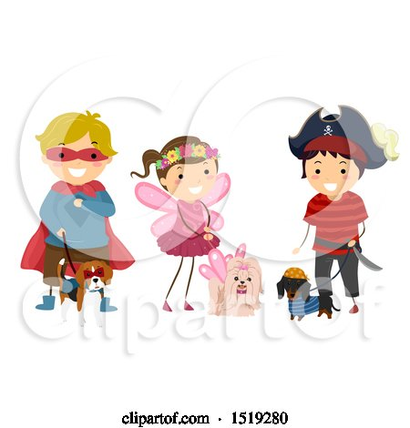 Clipart of a Group of Children in Costumes, with Their Dogs - Royalty Free Vector Illustration by BNP Design Studio