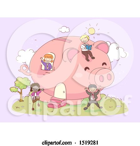 Clipart of a Sketched Group of Children Playing in a Piggy Bank House - Royalty Free Vector Illustration by BNP Design Studio