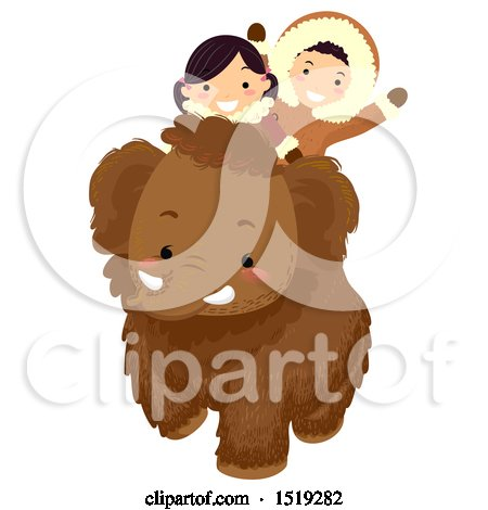 Clipart of a Boy and Girl Riding a Baby Mammoth - Royalty Free Vector Illustration by BNP Design Studio
