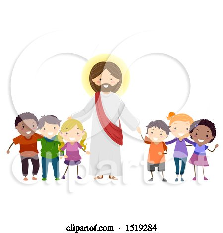 Clipart of a Group of Children Standing with Jesus Christ - Royalty Free Vector Illustration by BNP Design Studio