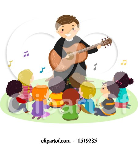 Clipart of a Group of Children Singing with a Priest As He Plays a Guitar - Royalty Free Vector Illustration by BNP Design Studio