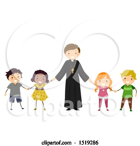 Clipart of a Happy Priest Holding Hands with Children - Royalty Free Vector Illustration by BNP Design Studio