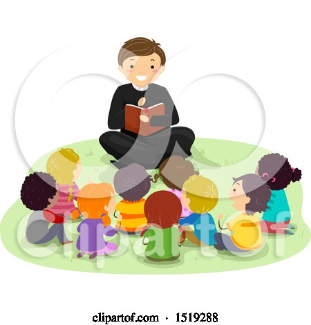 Clipart of a Priest Reading the Bible to a Group of Children - Royalty Free Vector Illustration by BNP Design Studio