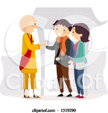 Clipart of a Couple Shaking Hands with a Monk - Royalty Free Vector Illustration by BNP Design Studio