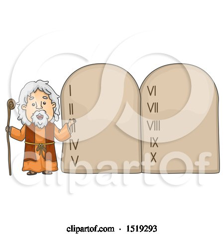 Clipart of a Scene of Moses Presenting the Ten Commandments - Royalty Free Vector Illustration by BNP Design Studio