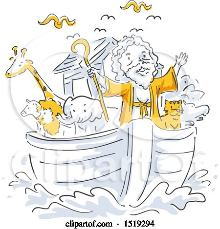 Clipart of a Scene of Noahs Ark - Royalty Free Vector Illustration by BNP Design Studio