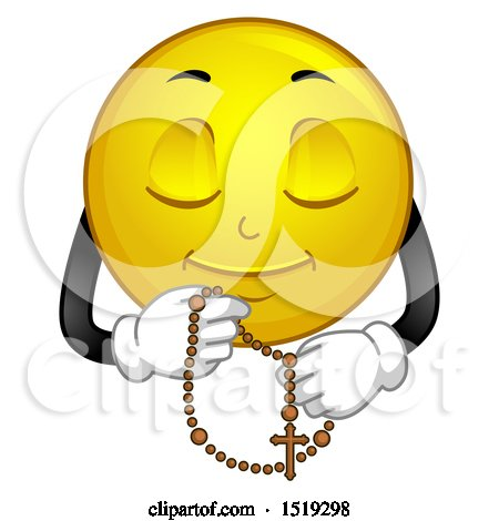 Clipart of a Yellow Smiley Emoji Praying with a Rosary - Royalty Free Vector Illustration by BNP Design Studio